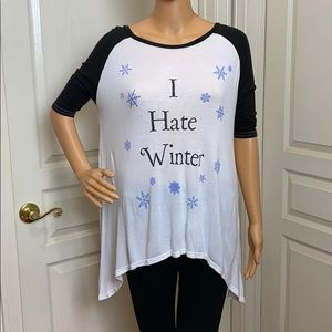 Jac Vanek I Hate Winter T-Shitt Size Large